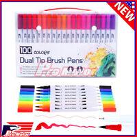 Watercolor Brush Marker Pens Dual Tips Soft Fine Art Drawing Pen