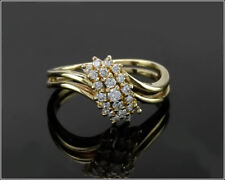 Vintage ZALES (JTC) 14k Yellow Gold Sparkling .35ct. Diamond Cluster Ring, Sz 6.