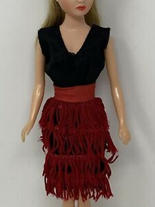 Vintage Uneeda Miss Suzette Clothes Doll Outfit BLACK DRESS with RED FRINGE