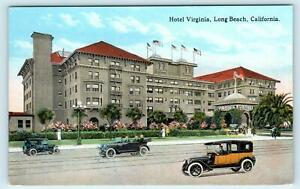 LONG BEACH, CA California ~ HOTEL VIRGINIA Street Scene  c1910s Cars Postcard