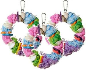 """(3 Pack) Prevue Pet Cal-Sea-Yum Multi-Colored Dollar Toy For Birds, 6.5"""" X 6"""""""