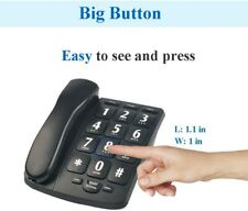 Black Amplified Big Button Telephone Phones Loud Speaker For Low Vision Seniors