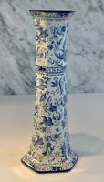 Antique Blue Burleigh Ware Burgess Leigh Chinese Peacock Blue Bird Vase c. 1913