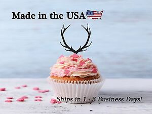 Deer Antler Cupcake Toppers, Acrylic, Deer Decor, Birthday Party, Baby, LCT1002
