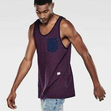 Cotton Blend Striped Fitted Sleeveless T-Shirts for Men