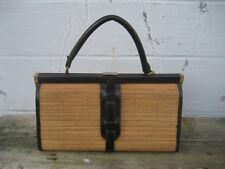 Jeanne Bernard sac à main vintage cuir et paille années 1950/1960