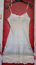 COMBINAISON nylon vintage verte dentelles blanche
