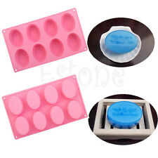 8 - Eggs Oval Silicone Ice Cube Chocolate Cake Cookie Cupcake Soap Molds Mould