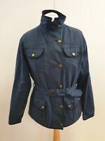 M336 WOMENS ELVEDEN BLUE WAXED COTTON COUNTRY JACKET UK 14 EU 42