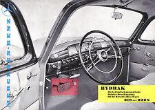 MERCEDES Benz Ponton 219 & 220S hydrak 1957 à 1959 brochure originale allemande PUB 376
