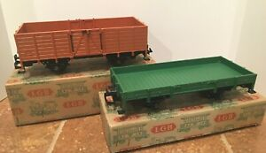 LGB 4011 & 4020 Early Vintage Type A Gondolas in original GRAY boxes - both C9!