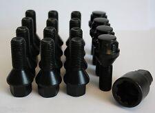 12 X M12 X 1.5 30MM BLACK WHEEL BOLTS & LOCKING FIT VW LUPO POLO PASSAT 4 STUD