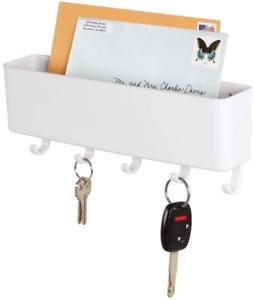 mDesign Wall Mount Modern Plastic Mail Organizer Storage Basket, 5 Hooks White