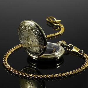 Mens Mechanical Watch Pocket Skeleton Black Face Chain Vintage Full Hunter Gold