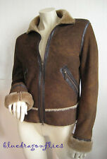 UGG AUSTRALIA Genuine Shearling Fur Brown Zip Flight Jacket COAT