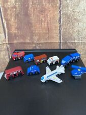 Lot Of 10 Wooden Toys Cars, Plane, Helicopter, Police, Ambulance