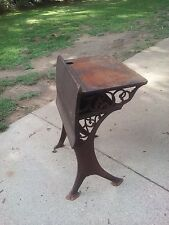 School Desk Vintage Antique Wood Wrought Iron W Ink Well #3