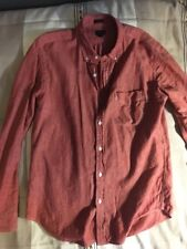 J CREW Japanese Selvedge Chambray in Sunwashed Red Btn Down Slim Fit Shirt M EUC