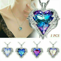 NEW 925 Silver Angel Wing Necklace Heart Rhinestone Crystal Pendant Jewelry Gift