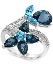 Beautiful Navy Blue Sapphire, Ocean Blue Aquamarine & Vivid White CZ Floral Ring