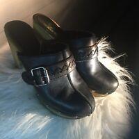 Ruff Hewn Women's St Tropez Mule High Heel Clogs Shoes Brown Leather 6.5