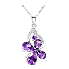 Amethyst Purple Butterfly Women Party Evening Prom Decoration Necklace N550