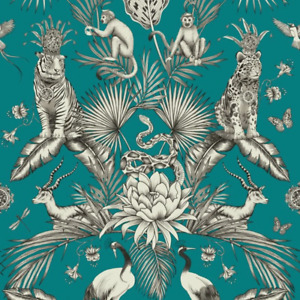 Teal Jungle Animals Menagerie Wallpaper 2004