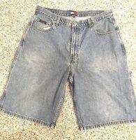 Men's Vintage VTG TOMMY HILFIGER Carpenter Denim Blue Jean 36 Shorts #388