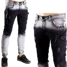 Pantaloni Jeans Bicolore Uomo Slim Fit Elasticizzati Skinny Stretti Sfumato