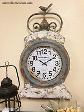 Metal Round Wall Clock RUSTIC DECOR Grand Hotel Vintage Cottage Antique Chic