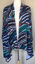 Travel Elements Open Front Cascade Jersey Knit Cardigan Stripe Black Red Blue 3X