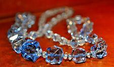 """30s Vintage Cut Glass Crystal Cobalt Blue Necklace Hand Strung 30"""" String Strand"""