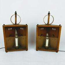 Toleware Lantern Table Lamp Metal Mid Century Modern Candle Sconce Floral Motif