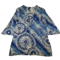 Pacfic Beach Womens Size Small Tie Dye Blouse Blue 3/4 inch Bell Sleeve Top 08D