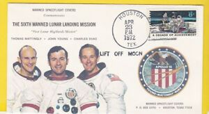 APOLLO 16 LIFT OFF OF MOON MANNED SPACEFLIGHT COVERS HOUSTON TX 4/23/1972