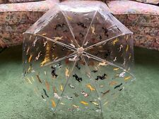 Vintage 1990 Design Realization Raining Cats Dogs Large Clear Umbrella Parasol