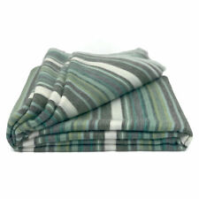 "SOFT & WARM STRIPED ALPACA LLAMA WOOL THROW BLANKET 95""x67"" QUEEN GREEN"