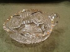 US Glass & Co Pattern Glass Nappy or Lemon Dish Clear with Gold Trim Vintage