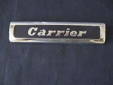 """Vintage  """"CARRIER""""  Emblem METAL APPLIANCE CHROME BLACK"""