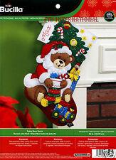 "Bucilla Teddy Bear Santa ~ 18"" Felt Christmas Stocking Kit #86503 Train, Gifts"