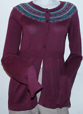 NWT $58 Women's Daisy Fuentes Cardigan Sweater M Cotton Ribbed Multi 4 Buttons