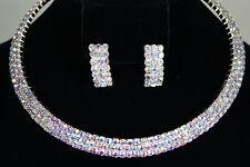 Aurora Borealis Rhodium Plated Rhinestone 3 Rows Bridal Wedding Necklace Set NEW