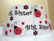"""1 m x  7/8"""" Pink Ladybug with Glitter Wings Big Sister White Grosgrain Ribbon"""