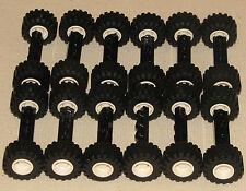 LEGO LOT OF 12 WHEEL ASSEMBLIES WIDE BLACK TRUCK AXLES & MEDIUM TREAD CAR TIRES