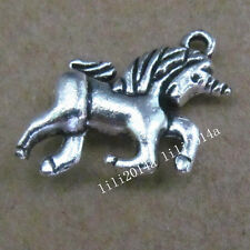 10pc Tibetan Silver Charms 2-Sided Dragon Horse Pendant Jewellery Making PL262
