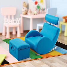 HOMCOM Kids Sofa Set Rocking Storage Lazy Recliner Armchair PU Leather Lounge