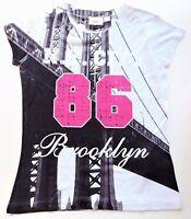 """Mädchen T-Shirt Top Shirt Bluse Gr. 116 / 122 farbig  """" N. Y. City 86 Brooklyn """""""