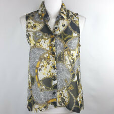 Charlotte Russe Womens Top Small Gold Chain Jewel Print Sleeveless Career Trendy