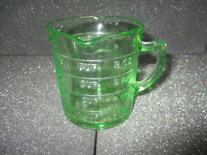 Vintage Hazel Atlas 3 Spout Green Vaseline Depression Glass Measuring 1 Cup
