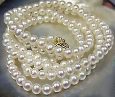"Long 25"" 7-8mm Natural White Akoya Cultured Pearl 14K GP Clasp Necklace AA+"